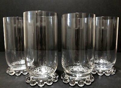 Vintage Set Of 4 Imperial Glass Candlewick Footed 12 Oz Tumblers