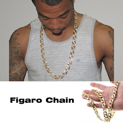 """30"""" Hip Hop Necklace Half Stone Iced-Out 22K Gold Plated Figaro Chain Link"""