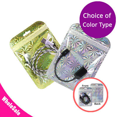 4x6in Variety Colors Hologram Clear & Shiny Zip Lock Pouch Bag w/ Euro Slot M