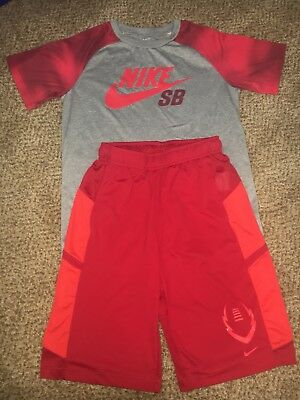 Boys Nike Dri-Fit Red Football Summer Shorts Shirt Athletic Outfit Youth Large