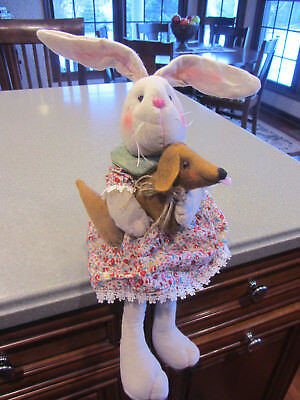Burlap look Bunny in dress & her Red/Brown Dachshund Easter Spring Summer Decor!