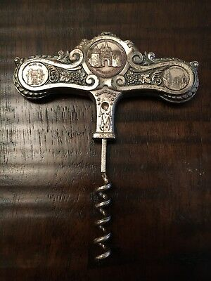 Antique Silver Plate Corkscrew from Toledo Spain Grapes and Historic Seals