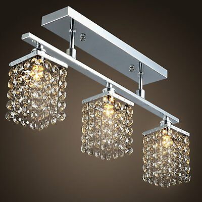 Modern Crystal Chandelier 3 Lights Ceiling Fixtures Lamp Pendant Dining Room OY