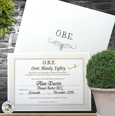 OBE - Over Bloody Eighty Certificate 80th Birthday Gift - Personalised A5 size