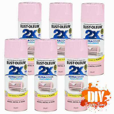 Rust-Oleum 2X Ultra Cover Gloss Candy Pink Spray Paint+Primer 340g x 6 Value Pk