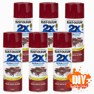 Rust-Oleum 2X Ultra Cover Gloss Colonial Red Spray Paint+Primer x 6 Value Pack