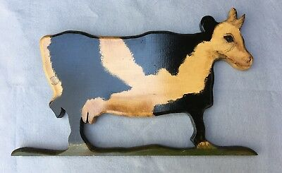 Vintage Hand Painted Folk Art Holstein Cow Wood Wall Hanging Plaque 1983