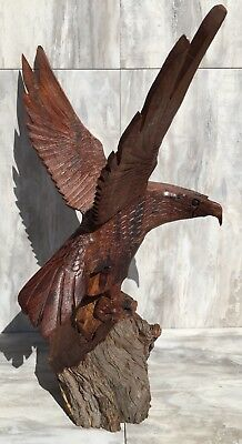 """(25.5""""H) Ironwood Eagle Sculpture Hand-Carved by Sonoran Artisan (New Carving)"""