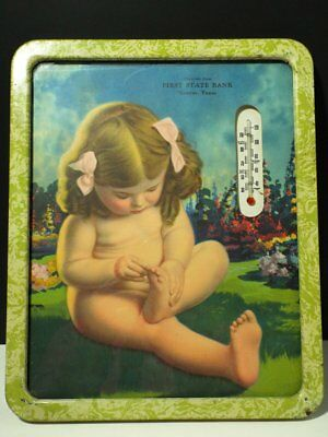 Vintage Thermometer Advertising Litho Little Girl First State Bank Gruver, TX