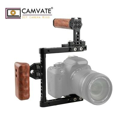 CAMVATE DSLR Camera Cage Wood Right hand Grip for Canon 760D 450D 100D 1200D 5D
