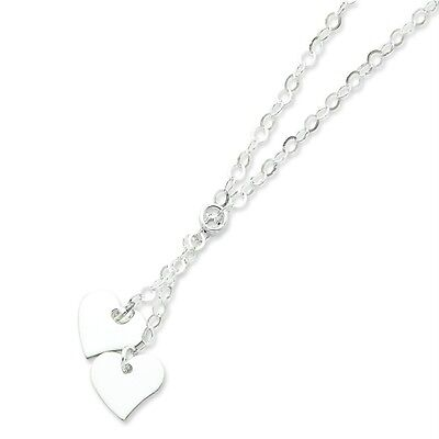 "Ladies .925 Sterling Silver 3.1mm Polished Fancy Double Heart 18"" Chain Necklace"