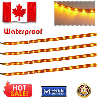4X 30cm 15-LED 3528 SMD Flexible Strip Lights Car Motor Decoration Amber YelloW