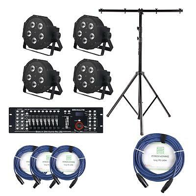 4x PROJECTEUR LED SPOT CONTROLEUR DMX MIXER XLR CABLES DJ USB RGB SUPPORT SET