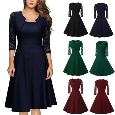 Womens Vintage Lace Formal Swing Skater Ladies Evening Party Prom Retro Dress AU