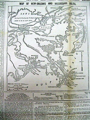 1861 Civil War newspaper Detailed MAP NEW ORLEANS Louisiana +1st Battle BULL RUN