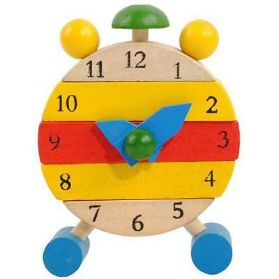 Hand Made Wooden Clock Toys For Small Kids Learn Time Clock Educational Toys
