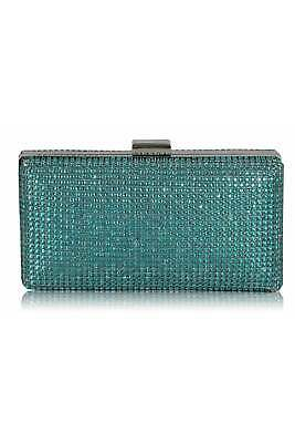 Teal Crystal Evening Clutch