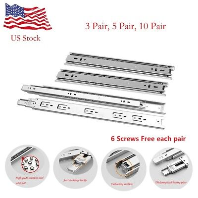 "9""-24"" Full Extension 60-100 lb Ball Bearing Drawer Slides With Screws Free"