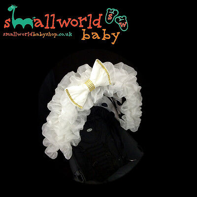 White Voile And Gold Bling Bow Pram Hood Trim Accessory (NEXT DAY DISPATCH)