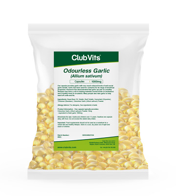 Club Vits - Garlic (Odourless) 1000mg - 365 Capsules