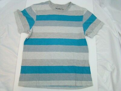 Foot Lock Boy's Shirt Size Small Athletic Fit Striped Gray White Blue 90% Cotton