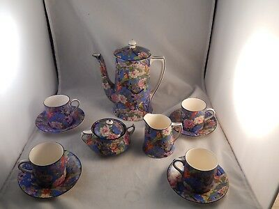 Crown Ducal Exotic Birds Blue Chintz Demitasse Coffee Pot Cups, Saucers & More