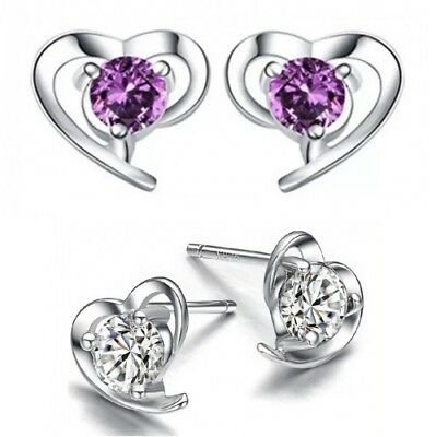925 Sterling Silver Earrings Women Gift Crystal Stud Studs Heart Round Earring