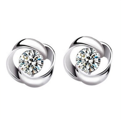 Womens Silver Earrings Swirl Stud Round Crystal Fashion Jewellery Gift Small Ear