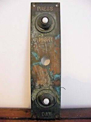 Very Rare Reclaimed Vintage Brass Double Door Bell Push Night Day