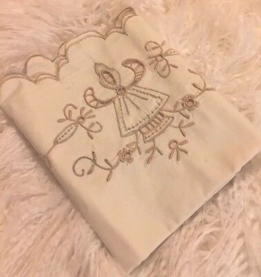 1930's UNUSED COTTON ITALIAN SHEET SET WITH EMBROIDERY CUTWORK MATCHING 2 CASES