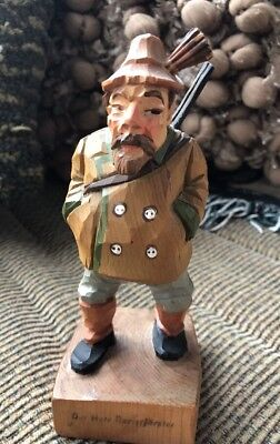 Antique Hand Carved Wood Man/Statue German Hunter Rifle Hunting