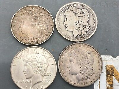 4 U.S.silver dollars 3 morgans 1 peace DOLLAR