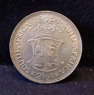 1954 South Africa silver 2 1/2 (2.5) shillings, half crown, decent grade, KM-51