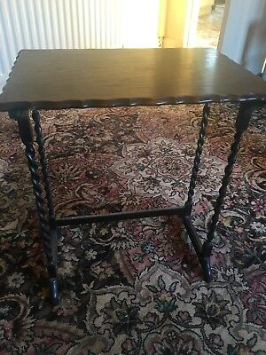 Edwardian Antique Side Table With Barley Twist Legs