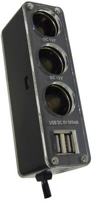 Streetwize 12V Triple car Socket With Twin USB  - SWPS9