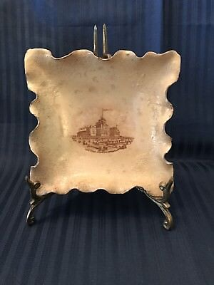 Antique Hampshire Pottery Keene, NH Hotel Rider Trinket Dish