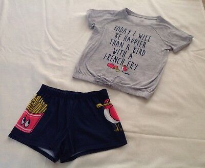 girl pajamas Justice Set Bird With A French Fry Size 8 Spring Summer Htf