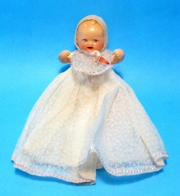 "1930 German Mini 3"" Composition Baby Doll Hertwig White Dress Bib&Pacifier AS-IS"