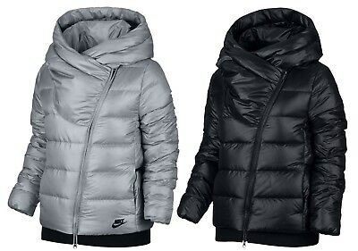 e0dd689c3953 NIKE WOMENS SPORTSWEAR Puffer Down Filled Jacket Coat Silver Black ...