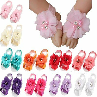 Toptim Baby Girl's Barefoot Sandals Flower for Toddlers 10 Mix Colors