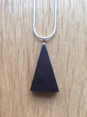 Approx 10000 yr old Irish Bog Oak Pendent on 1mm thick Silver Snake Chain