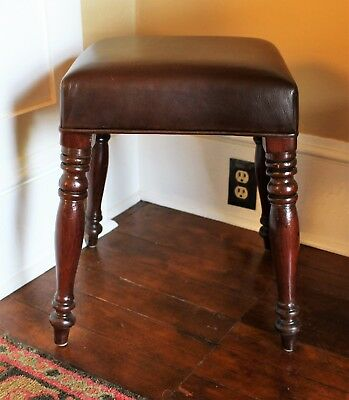 Late Regency or Wm. IV Period Mahogany Leather Upholstered Footstool c. 1835