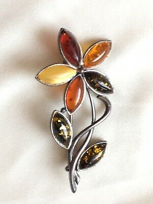 Estate Find- VNTG Sterling Silver 925 Russian Baltic Amber Brooch Flower Pin