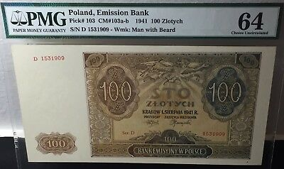 1941 Poland Emission Bank 100 Zlotych Pick # 103 Pmg 64