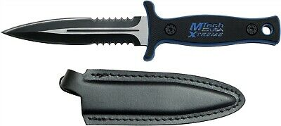 Mtech Xtreme MX-8059BL Tactical Black Blue Fixed Dagger Boot Knife + Sheath