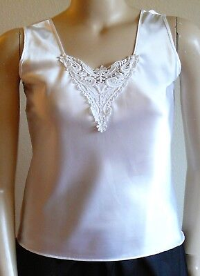 Escapades White Satin Camisole Tank Top Tatted Lace Wear Under Jacket M