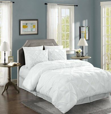 Chezmoi Collection 3-Piece Luxurious White Pintuck Pinch Pleated Comforter Set