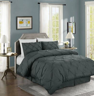 Chezmoi Collection Luxurious Gray Pintuck Pinch Pleated Comforter Set
