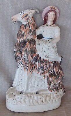Great Antique 12 1/2'' Staffordshire Figure Of A Girl With Colorful Goat
