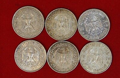 Complete Six Coin Mintmark Set 1934 Church Silver Coins w/2 Swastikas Circulated